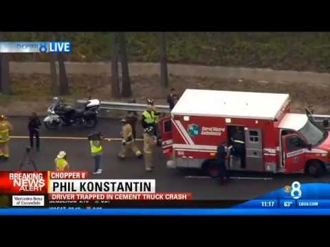Overturned Concrete Mixer Driver Rescued (My Live Report) - Dec 18, 2013