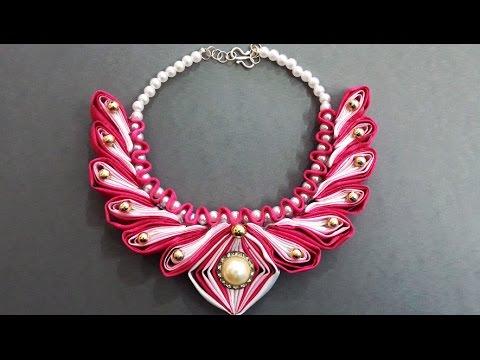 Easy DIY Beaded Kanzashi Necklace | Satin Ribbon Kanzashi Accessories | Handmade Wedding Jewelry