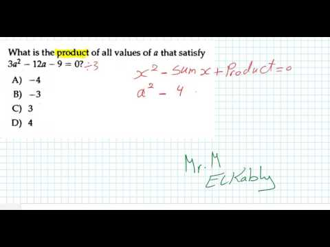 Sum & Product of roots of a quadratic equation