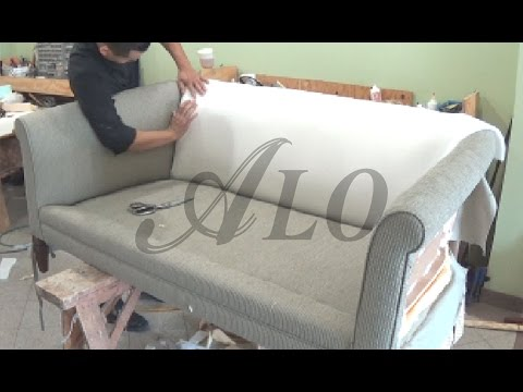 DIY: HOW TO REUPHOLSTER A COUCH WITH ROLL ARMS - ALO Upholstery