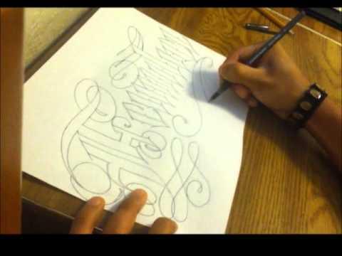 Cursive Old English Tattoo Lettering