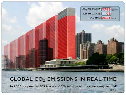 4 seconds of global carbon dioxide emissions: actual volume of gas in real-time