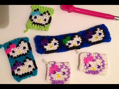 Hello Kitty Mini Mural Charm Bag Tag or Bracelet Rainbow Loom Tutorial