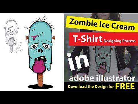 How to Design a creative T-Shirt ~ Ice Cream T-shirt Illustration ~ in Adobe illustrator.