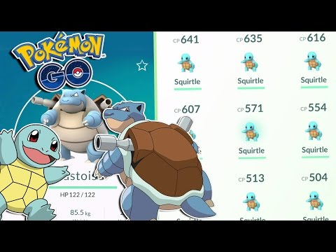 Pokemon GO | HIGH CP SQUIRTLE EVOLUTION TO BLASTOISE! Squirtle Catching MADNESS - Blastoise OP!