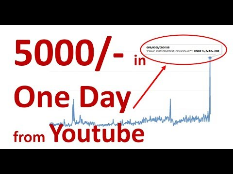 5000/- Rs. (82 US$)  in one day from Youtube ! OMG - I made 5000 in one day on youtube - Proof