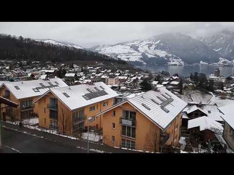 How much snow was in Switzerland during heavy Europe Snow Storm 2019 - Spiez - Part 1