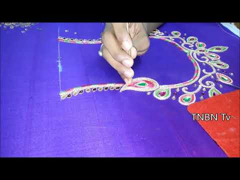 simple maggam work blouse designs | latest blouse back neck models | hand embroidery tutorial