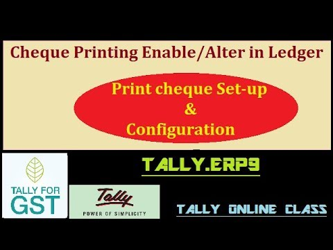 Cheque Printing Setup in Tally.ERP9/Cheque Configuration