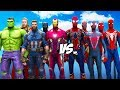 Download  ALL SPIDERMAN SUIT VS THE AVENGERS - Hulk, Iron Man, Captain America, Black Widow, Thor MP3,3GP,MP4