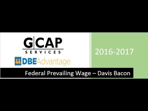 Federal Prevailing Wage - Davis Bacon