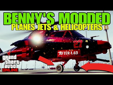 GTA ONLINE BENNY'S MODDED PLANES JETS & HELICOPTERS WITH (BENNY'S WHEELS) / NEW 2018