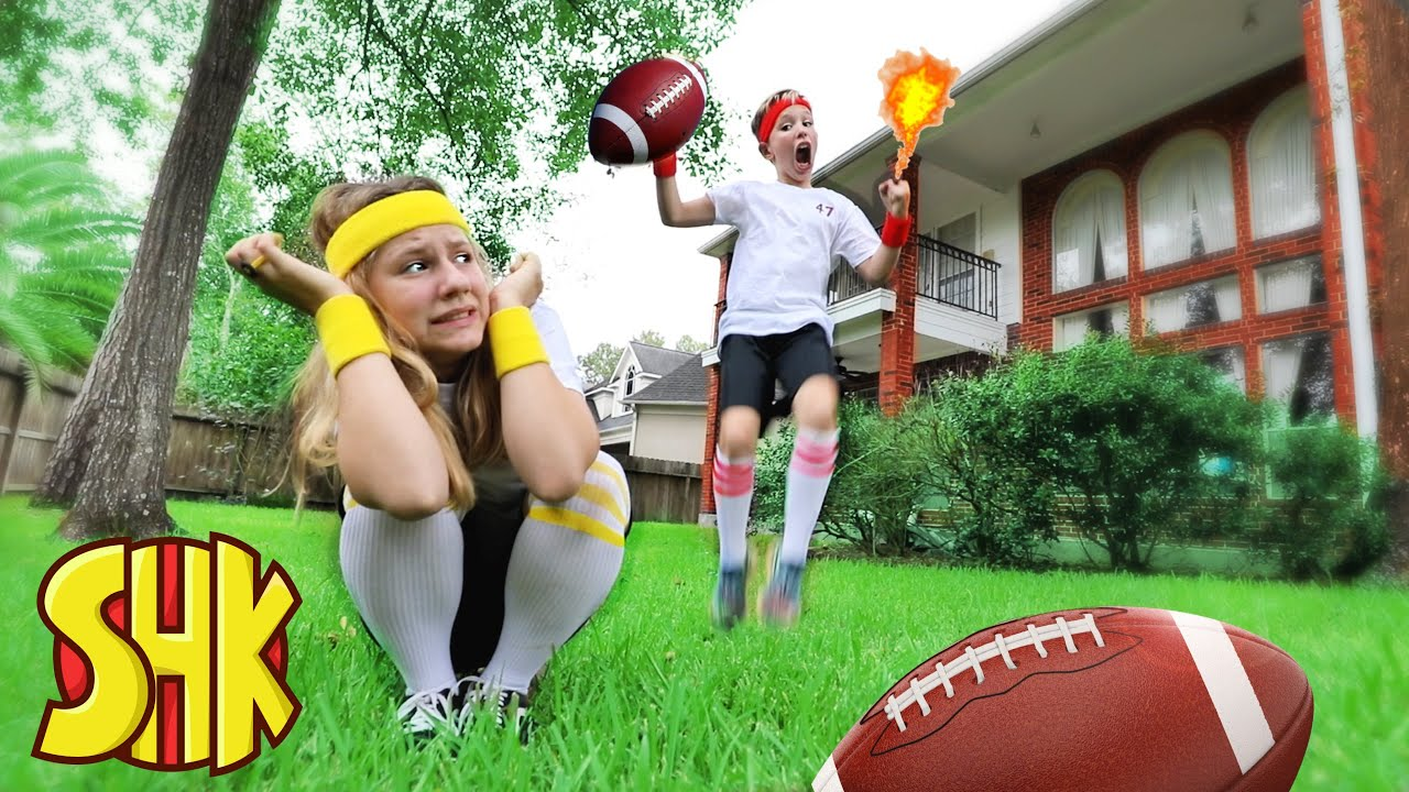 FOOTBALL TRICK SHOT BOYS VS GIRLS Challenge! SuperHeroKids Funny Family Videos