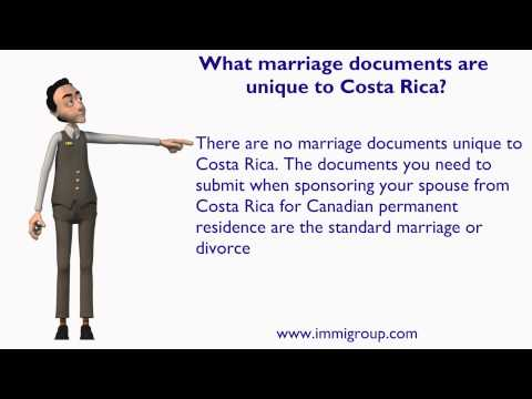 What marriage documents are unique to Costa Rica?