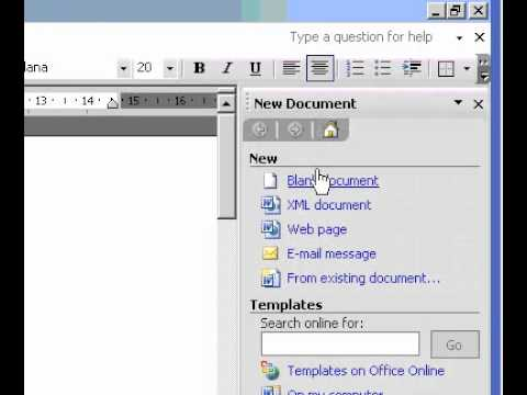 Microsoft Office Word 2003 Create a blank Web page