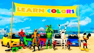 LEARN COLORS Motorbike, Small Cars and Big Trucks with Superheroes for Children and Babies