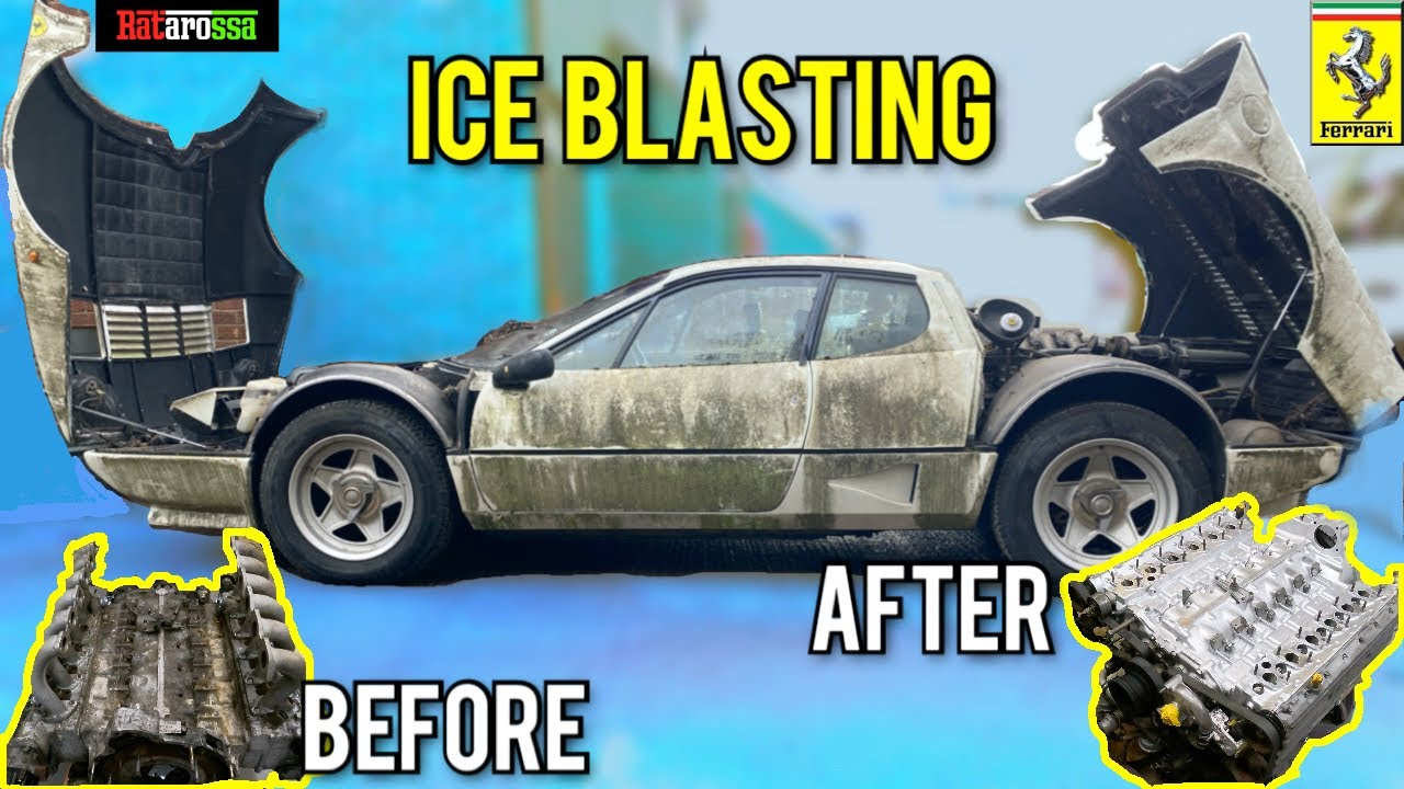 Dry Ice Cleaning Abandoned Ferrari 512BBi after 12 Years Sat Outside - Only 6420 Miles !