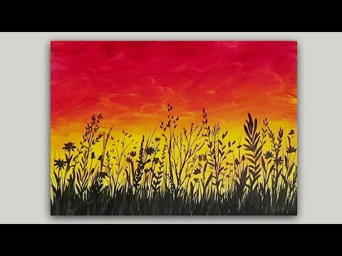 Acrylic Painting Wildflowers at Sunset Silhouette Painting | Real Time StudioSilverCreek