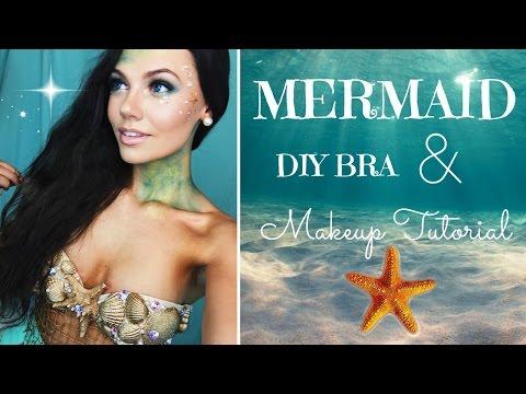 Halloween Tutorial Mermaid Makeup and DIY Bra!