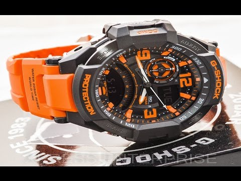 Casio GSHOCK G-Aviation GA1000-4A REVIEW | How To Set Time | LIGHT DISPLAY