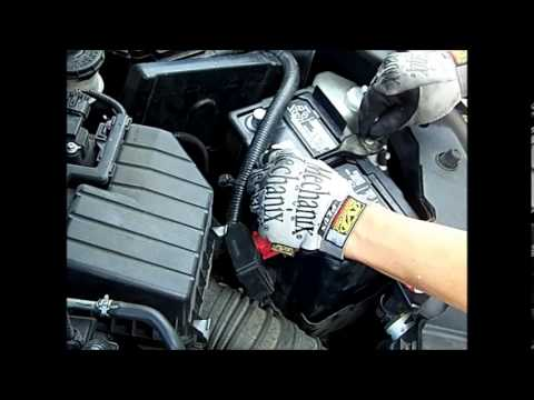 2006-2011 Honda Civic Battery Change, remove and install procedure, wear safety goggles/glasses
