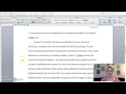 Annotated Bibliography Sample