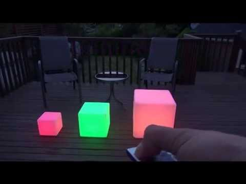 "LED Light up Waterproof Cordless Glow Cube Seat Furniture – 17"", 12"" , 8"" - With Remote Control"