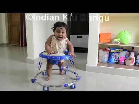 7 months kid enjoying in baby Walker|Indian kids in Walker|Baby learning how to walk|Indian Bhrigu