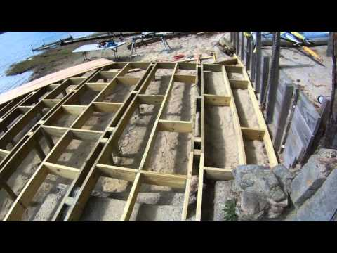 How to Build a Dock / Deck out of Cedar wood with curves on a Lake.