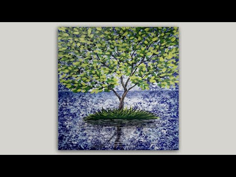 Acrylic Painting Global Warming Tree Painting on Abstract Background