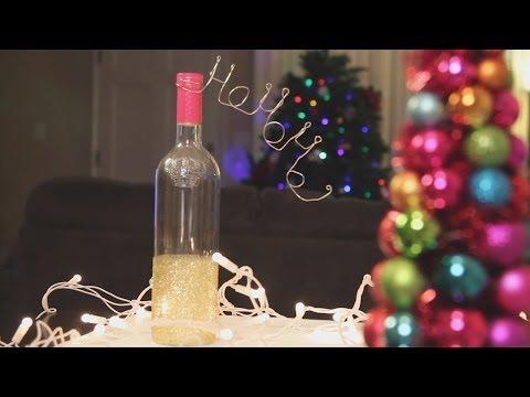 Christmas Glitter Wine Bottle Decoration ♥ DIY