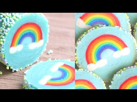 Rainbow with Clouds Cookies Slice & Bake Surprise! DIY Rainbow Treats