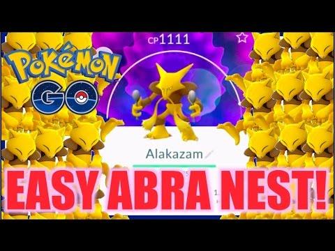 HOW TO GET ALAKAZAM (EASY) POKEMON GO!! ABRA NEST!!