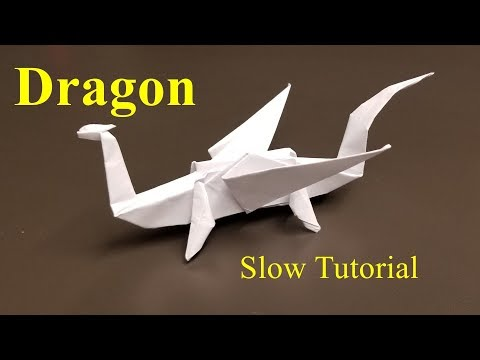 Easy Origami Dragon - How to make an Easy Origami Dragon Slow Tutorial