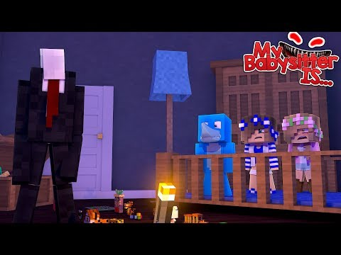 MY BABYSITTER IS..... SLENDERMAN !!! Minecraft w/ Little Kelly, Little Carly and Sharky