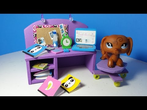 DIY LPS Doll Computer Desk PLUS Accessories (Alarm Clock, Notebooks, Calculators)