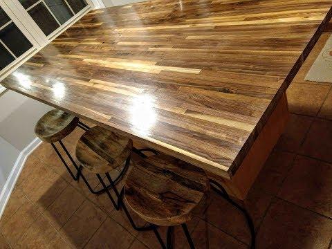 Walnut butcher block counter Tung Oil finish