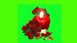 Valentine Green screen Heart Shape Candle With Red Rose