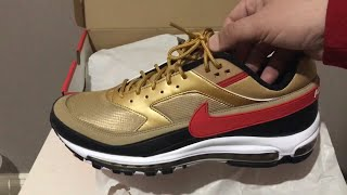 b23619420d Nike Air Max 97 BW Metallic Gold University Red Black Unboxing and On feet