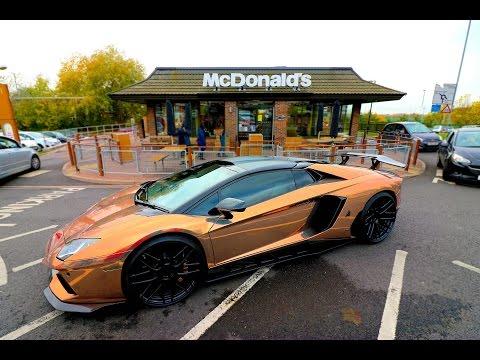 MCDONALDS DRIVE THRU WITH A ROSE GOLD AVENTADOR!