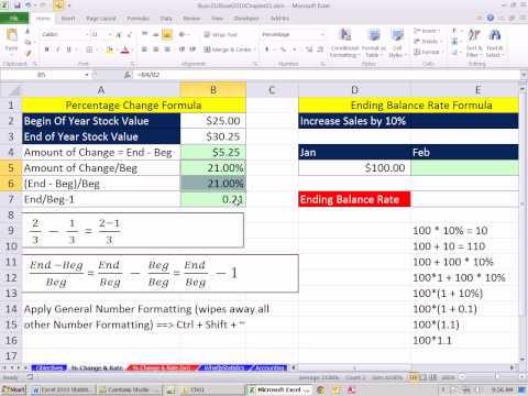 Excel 2010 Statistics 10: Percentage Change and Ending Balance Formulas
