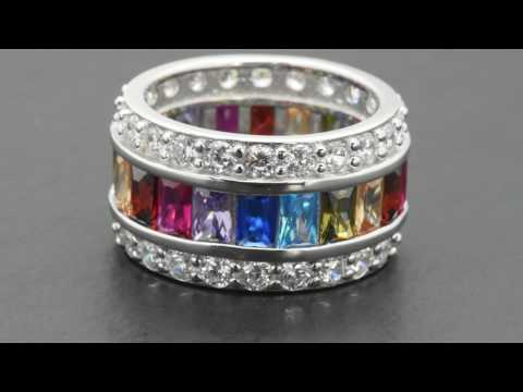 Sterling Silver Emerald Cut MultiColor Rainbow Sapphire Wide Eternity Band Ring