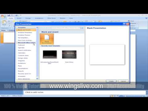 wingslive.com | Working with default templates in Powerpoint 2007