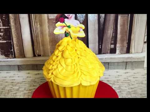 Beauty & the Beast Theme Giant Cupcake cake Tutorial! Belles Dress cake and party decorations!