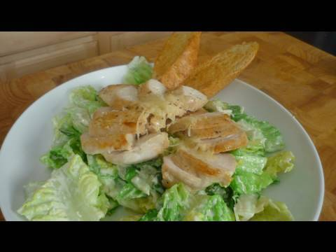 Chicken Caesar Salad with Garlic Bread