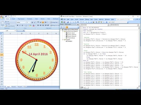 How to create analog clock animation in Ms. Excel