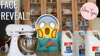 SLIME TYME FACE REVEAL!! MAKING 3 GALLONS OF CEREAL MILK SLIME IN A MIXER?!