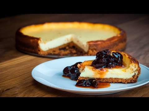 How to make Classic Baked American Cheesecake With Black Cherries