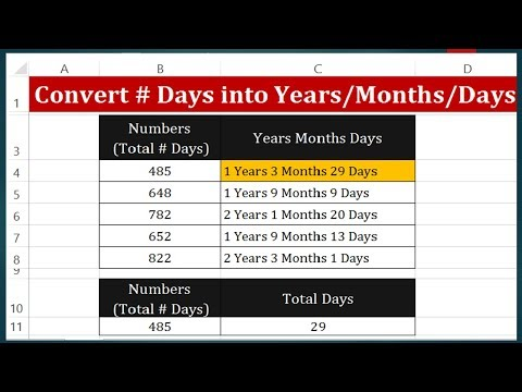 How to Convert Days into Years Months and Days in Excel 2013