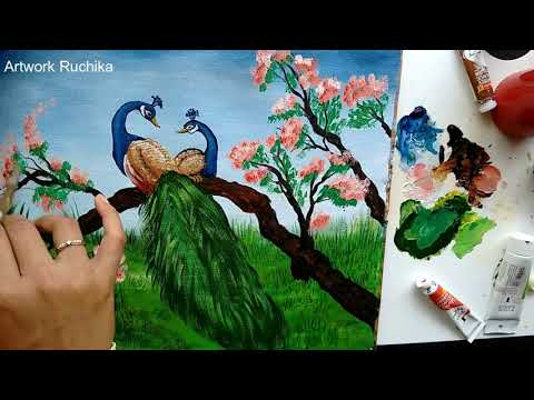 Colourful Peacock Pair Painting on Canvas | Acrylic Painting